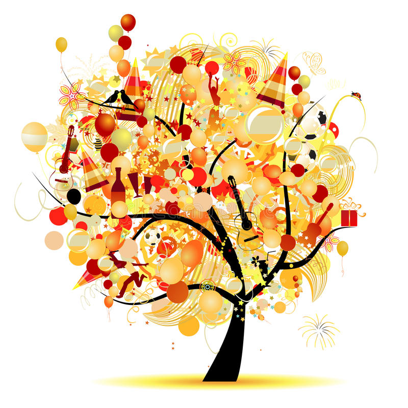 Celebração feliz, árvore engraçada com símbolos do feriado ilustração royalty free