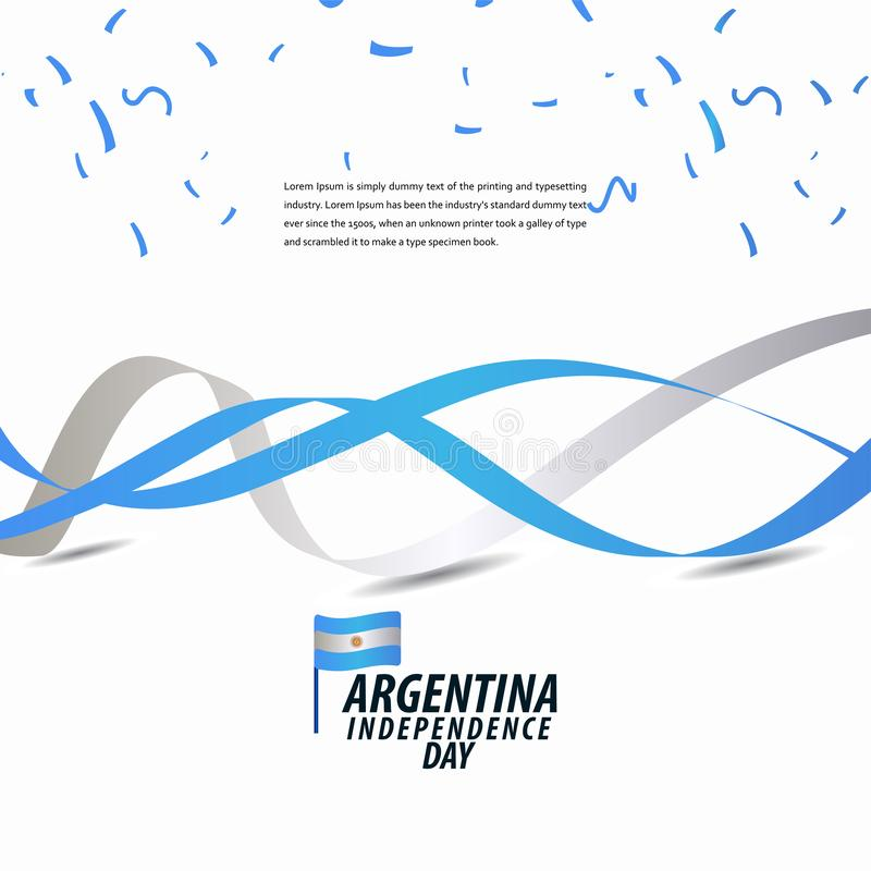 Celebração feliz do Dia da Independência de Argentina, cartaz, ilustração do projeto do molde do vetor da bandeira da fita ilustração do vetor