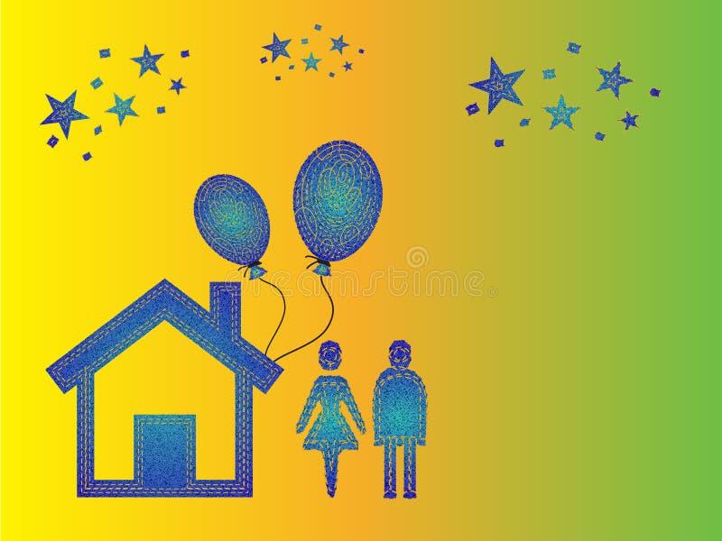 Celebração feliz dos pares da família em casa ilustração royalty free