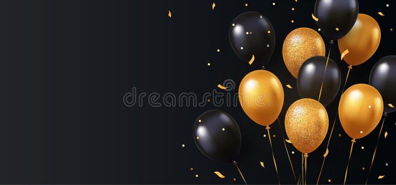 Celebração, fundo do festival com balões do hélio Cumprimentando a bandeira ou o cartaz com ouro e os vagabundos de voo do vetor  ilustração do vetor
