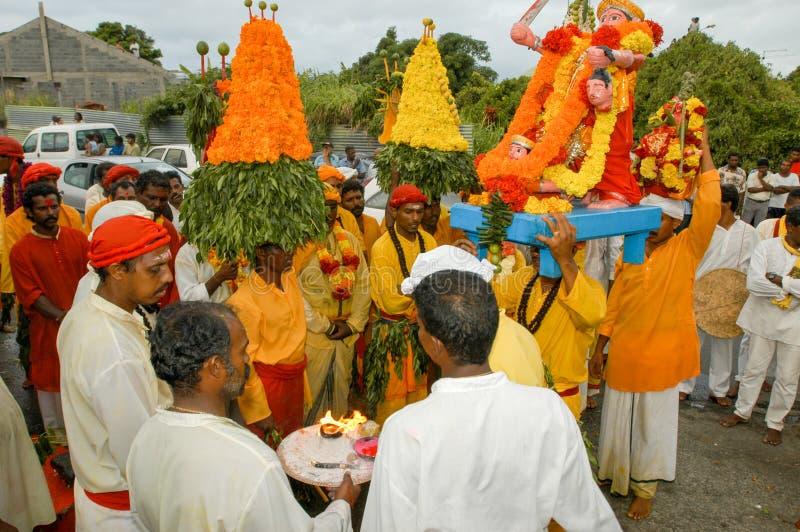 Celebração hindu de Pandiale em Saint Andre na reunião do La foto de stock