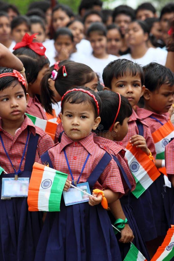Celebração indiana da escola do Dia da Independência fotos de stock