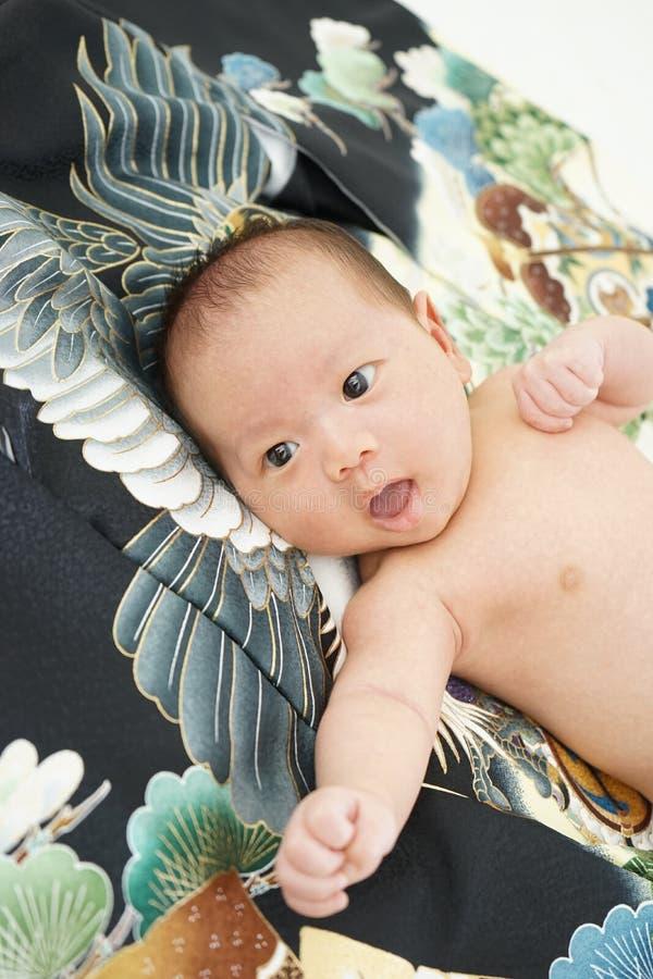 Celebração japonesa de Miyamairi para o bebê imagens de stock