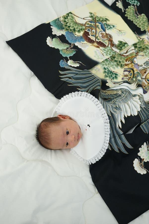 Celebração japonesa de Miyamairi para o bebê fotos de stock