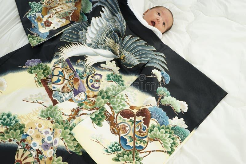 Celebração japonesa de Miyamairi para o bebê fotografia de stock