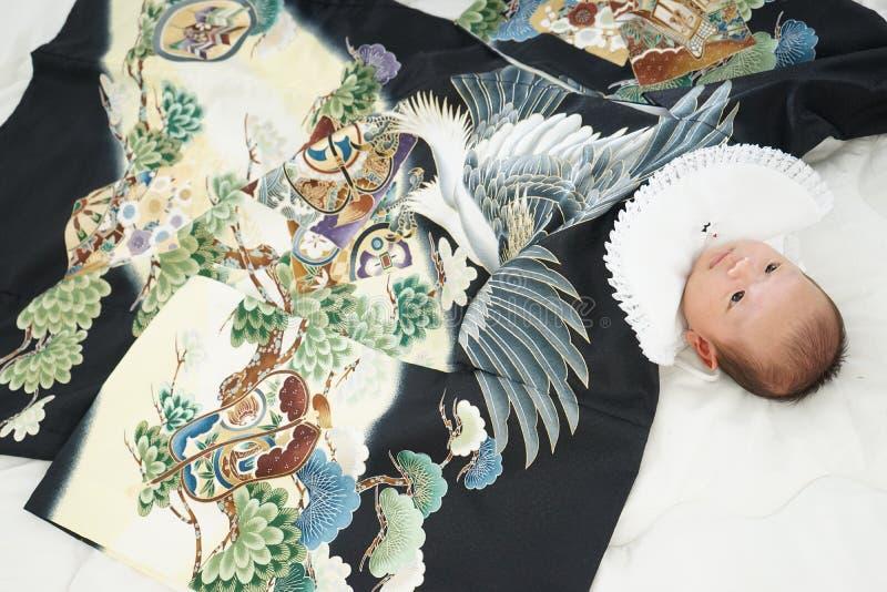 Celebração japonesa de Miyamairi para o bebê fotografia de stock royalty free
