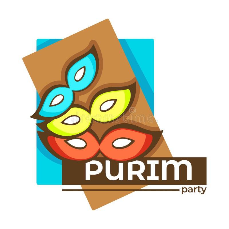 Celebração judaica isolada partido do feriado do ícone de Purim ilustração royalty free