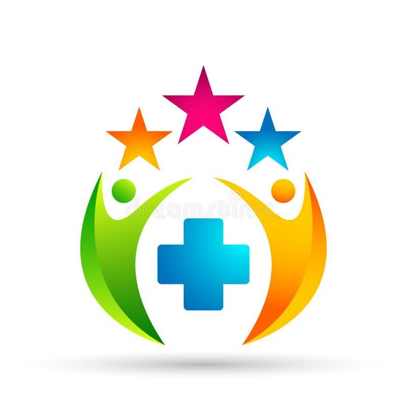 Celebração médica abstrata da união dos povos do clinc no ícone bem sucedido investido incorporado do conceito do investimento fi ilustração stock