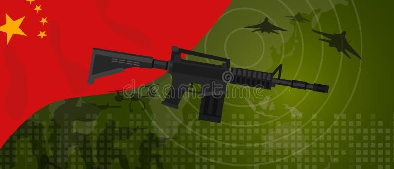Celebração nacional do país da guerra e da luta do setor da defesa do exército da potência militar de China com o lutador de jato ilustração royalty free