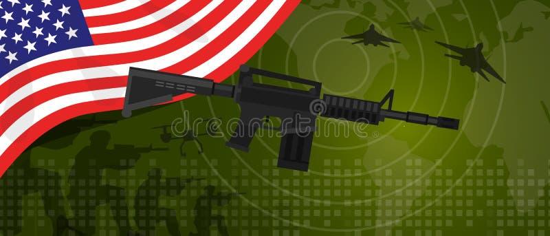 Celebração nacional do país da guerra e da luta do setor da defesa do exército da potência militar do Estados Unidos da América d ilustração stock