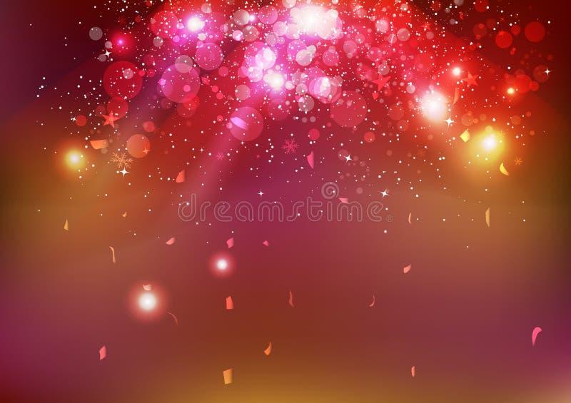 Celebração, partido do evento dos confetes do Natal, poeira de estrelas que cai, sumário claro de incandescência do conceito da é ilustração royalty free