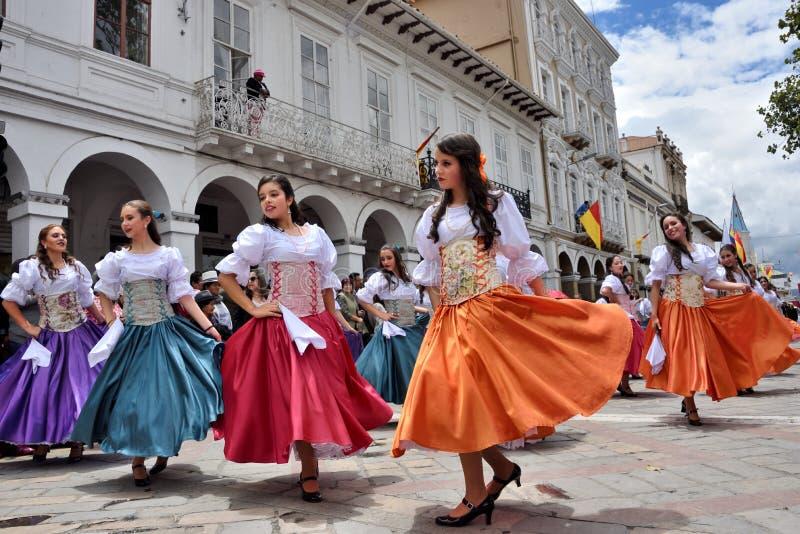Celebração pelos 460 anos de fundação do ` s de Cuenca, Equador imagens de stock royalty free