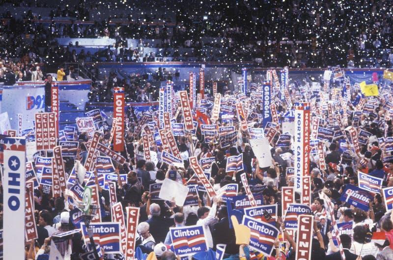 Celebração presidencial nas 1992 convenções nacionais Democráticas em Madison Square Garden fotografia de stock royalty free