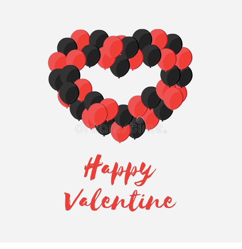 Celebração Valentine Day feliz - 14 de fevereiro - coração do amor - Ballon vermelho e preto ilustração do vetor