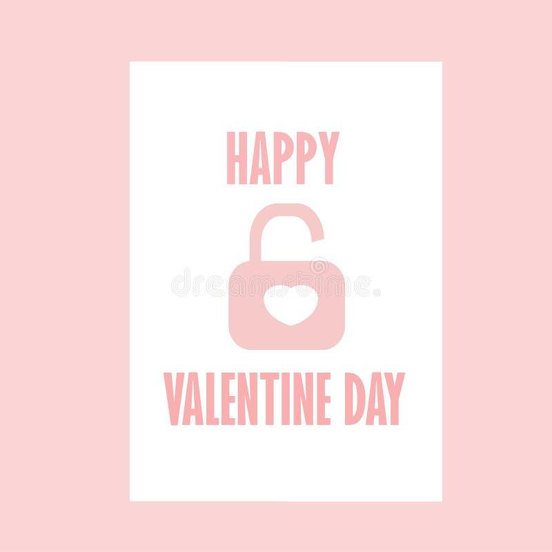 Celebração Valentine Day feliz - 14 de fevereiro - coração do amor - chave e cadeado ilustração do vetor