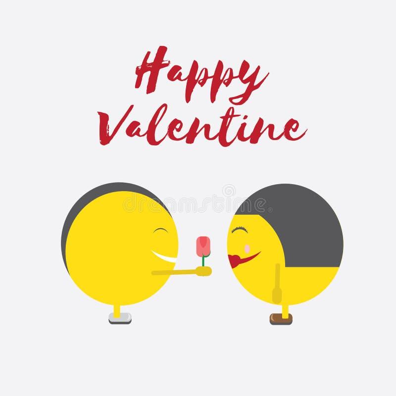 Celebração Valentine Day feliz - 14 de fevereiro - coração do amor - Emoticon ilustração do vetor