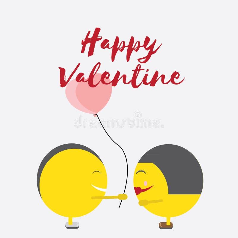 Celebração Valentine Day feliz - 14 de fevereiro - coração do amor - Emoticon ilustração stock