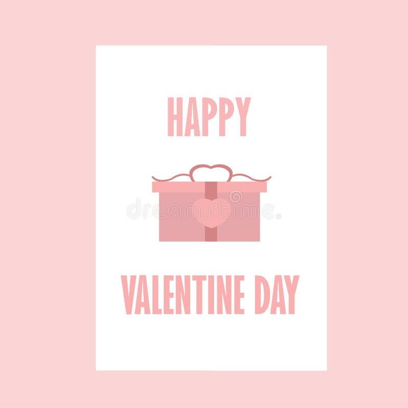 Celebração Valentine Day feliz - 14 de fevereiro - coração do amor - o presente ama ilustração royalty free
