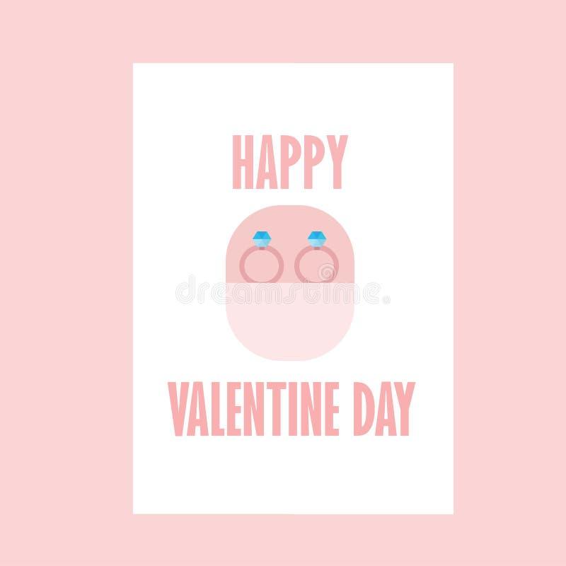 Celebração Valentine Day feliz - 14 de fevereiro - coração do amor - Ring Fiancea ilustração do vetor