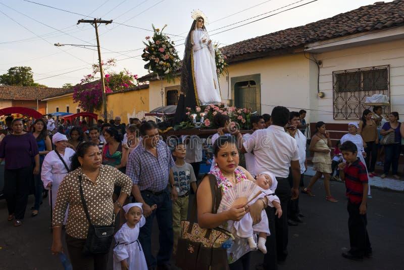 Celebrações da Páscoa no ³ n de LeÃ, Nicarágua imagens de stock