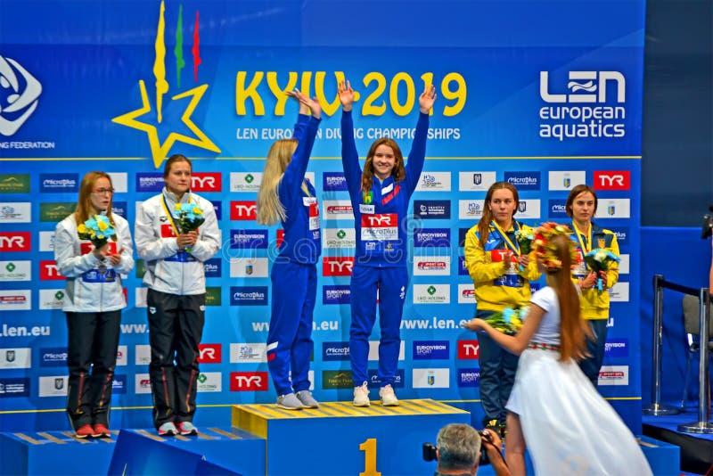 Celebrações 2019 de mergulho europeias do vencedor dos campeonatos em Kiev, Ucrânia, imagens de stock