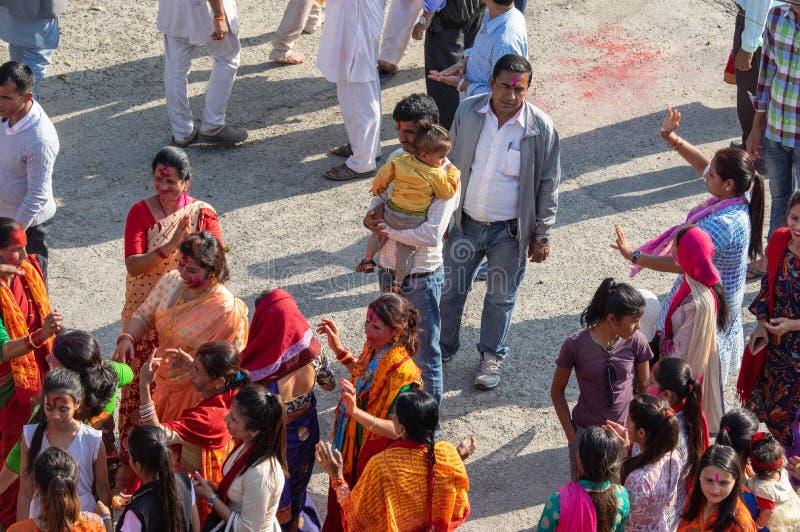 Celebración aérea de Holi imagen de archivo libre de regalías
