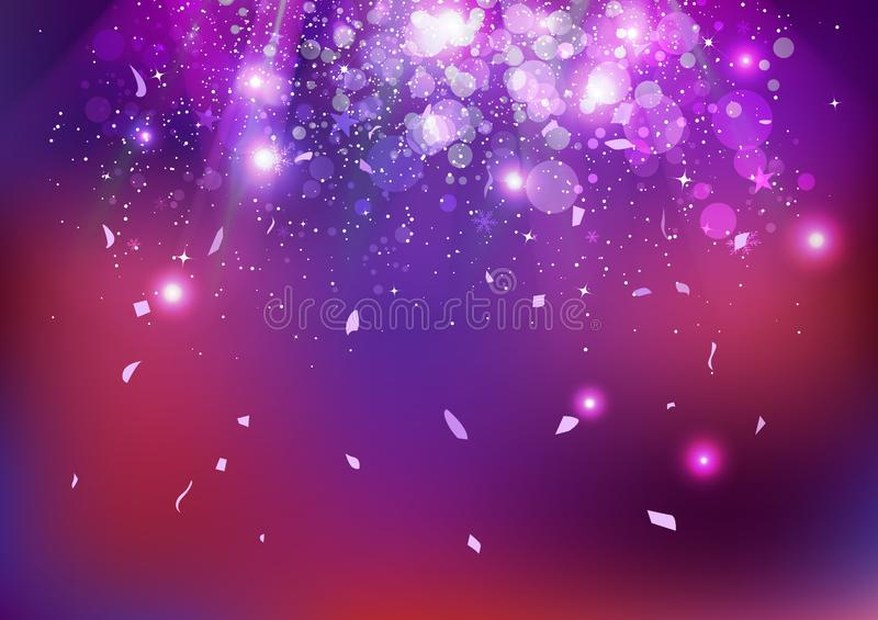 Celebración, acontecimiento del partido, polvo de estrellas y confeti bajando, dispersión, fondo púrpura del extracto del concept stock de ilustración