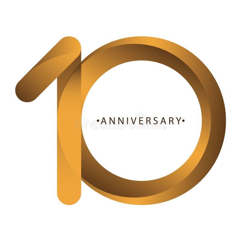 Celebración, aniversario del 10mo aniversario del año del número, cumpleaños Marrón de lujo del oro del tono del dúo stock de ilustración