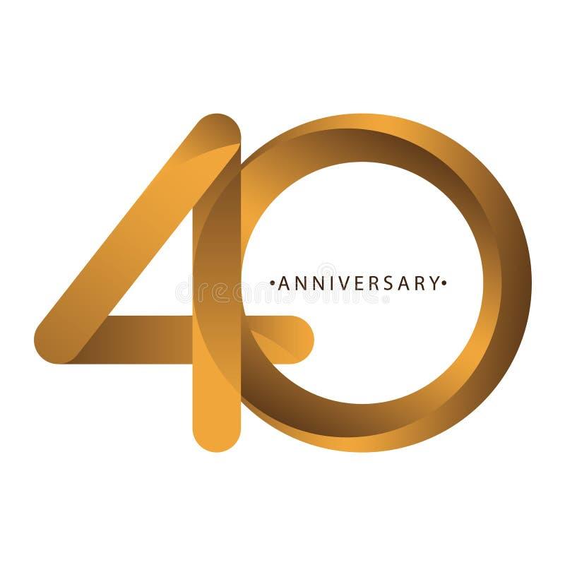 Celebración, aniversario del 40.o aniversario del año del número, cumpleaños Marrón de lujo del oro del tono del dúo ilustración del vector
