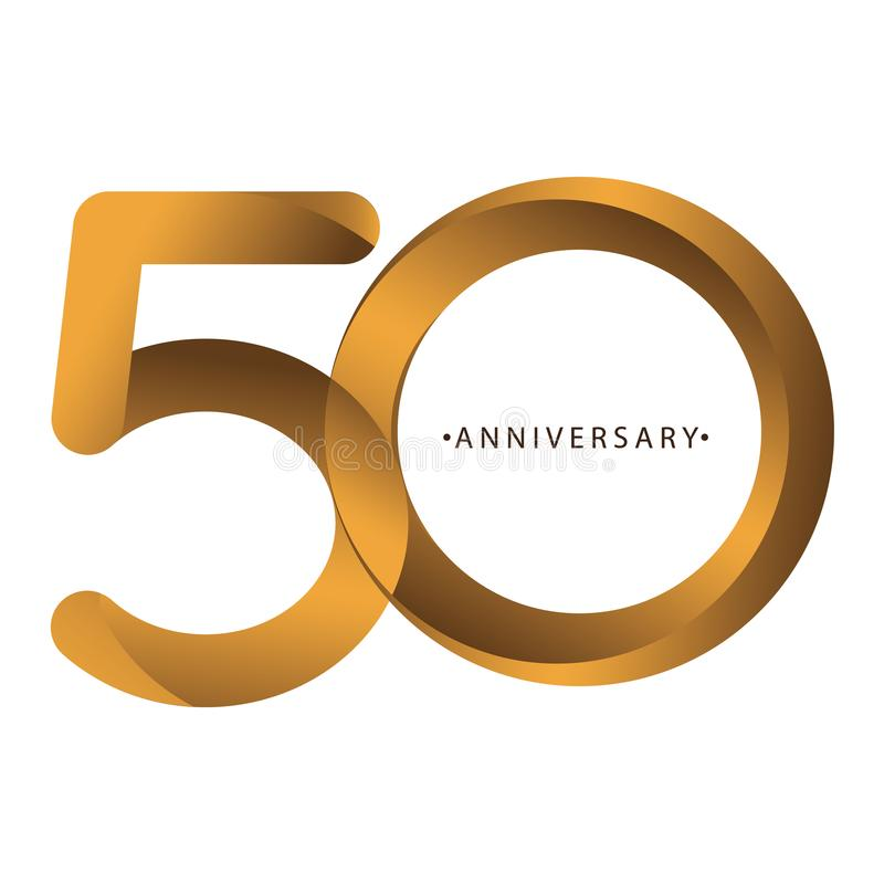 Celebración, aniversario del 50.o aniversario del año del número, cumpleaños Marrón de lujo del oro del tono del dúo stock de ilustración
