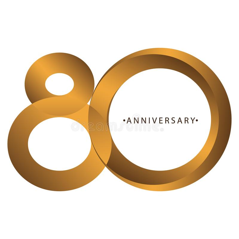Celebración, aniversario del 80.o aniversario del año del número, cumpleaños Marrón de lujo del oro del tono del dúo stock de ilustración