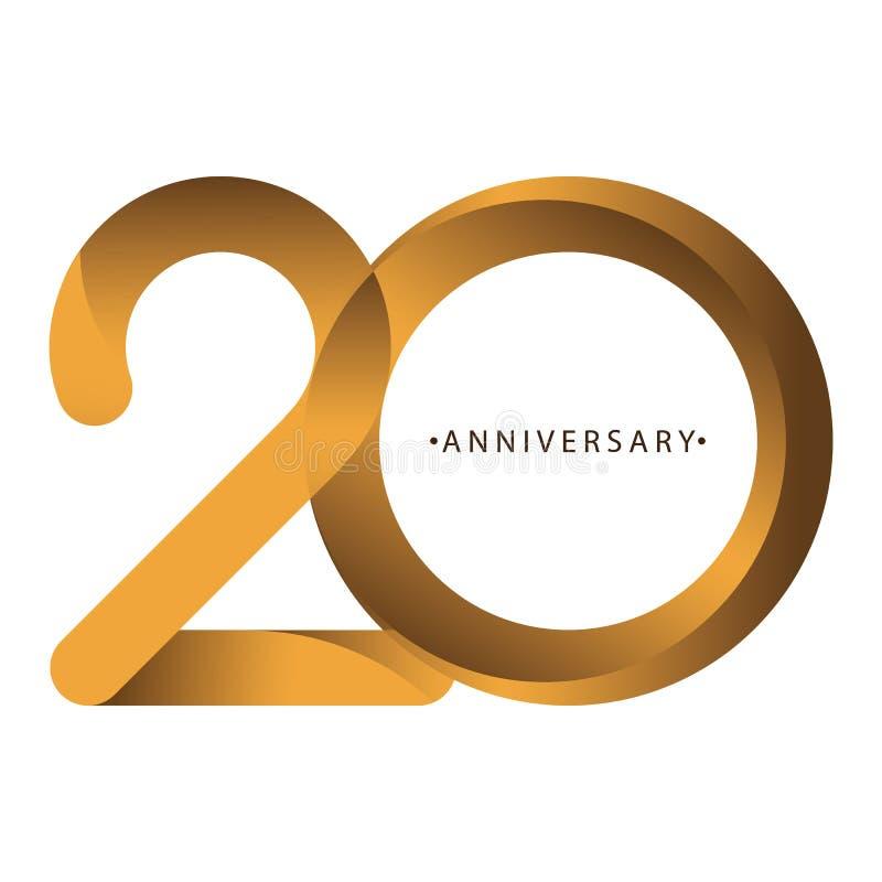 Celebración, aniversario del vigésimo aniversario del año del número, cumpleaños Marrón de lujo del oro del tono del dúo ilustración del vector
