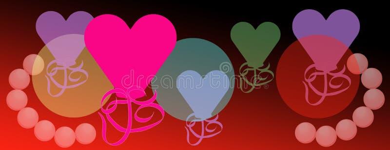 Celebración brillante de los corazones de la tarjeta del día de San Valentín del fondo del amor stock de ilustración