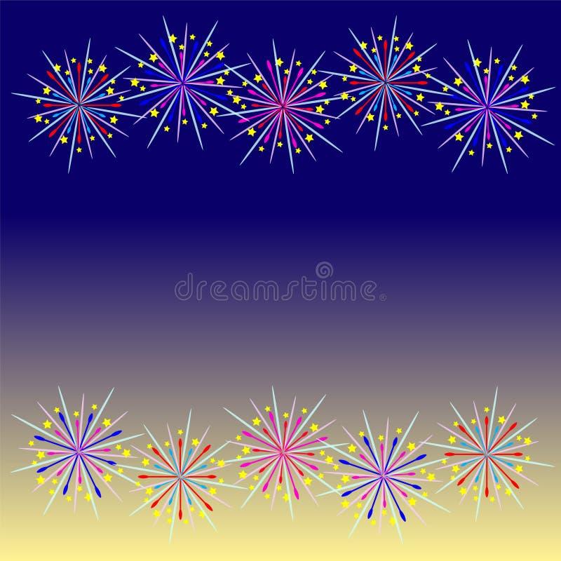 Celebración colorida del fuego artificial ilustración del vector