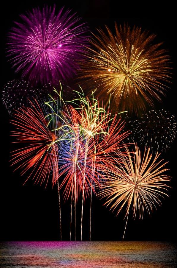 Celebración colorida del fuego artificial en fondo oscuro del cielo nocturno fotografía de archivo libre de regalías