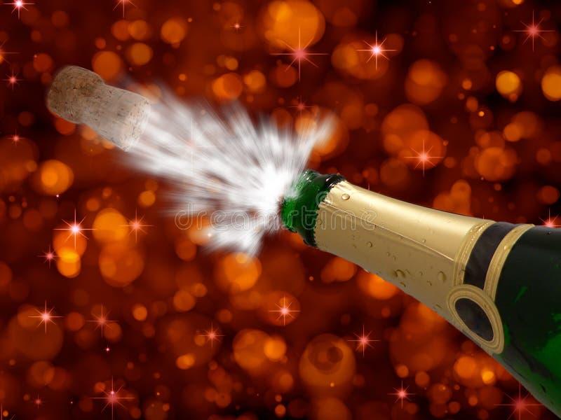 Celebración con champán en Año Nuevo partido-feliz fotografía de archivo