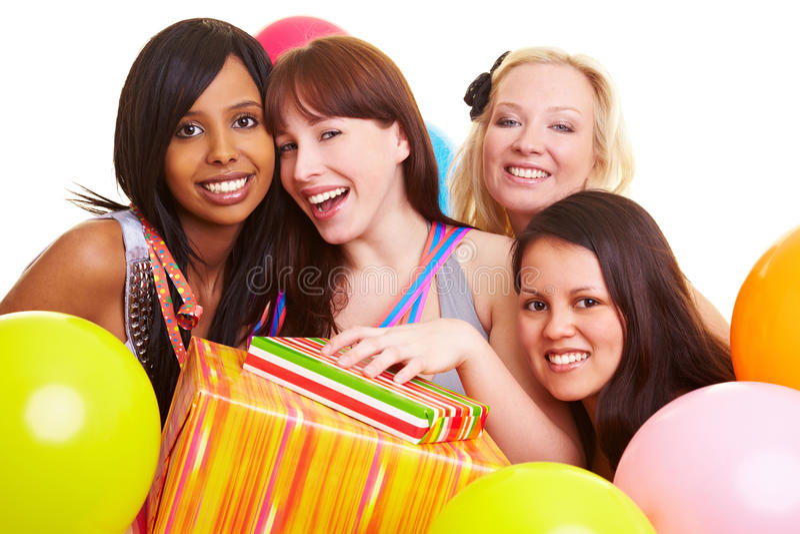 Celebración de cuatro mujeres amigos imagen de archivo