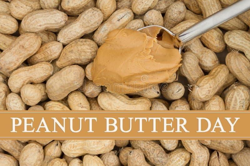 Celebración de día de la mantequilla de cacahuete con las nueces imagen de archivo