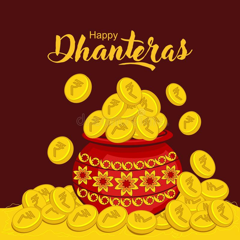 Celebración de Diwali en el ejemplo creativo del vector de los dhanteras felices de la India libre illustration