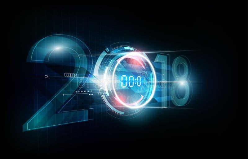 Celebración 2018 de la Feliz Año Nuevo con el reloj digital del extracto de la luz blanca en el fondo futurista de la tecnología, libre illustration