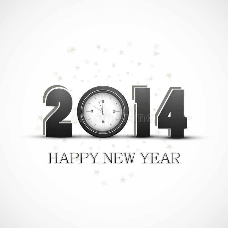 Celebración de la Feliz Año Nuevo del vector 2014 con diseño del reloj stock de ilustración