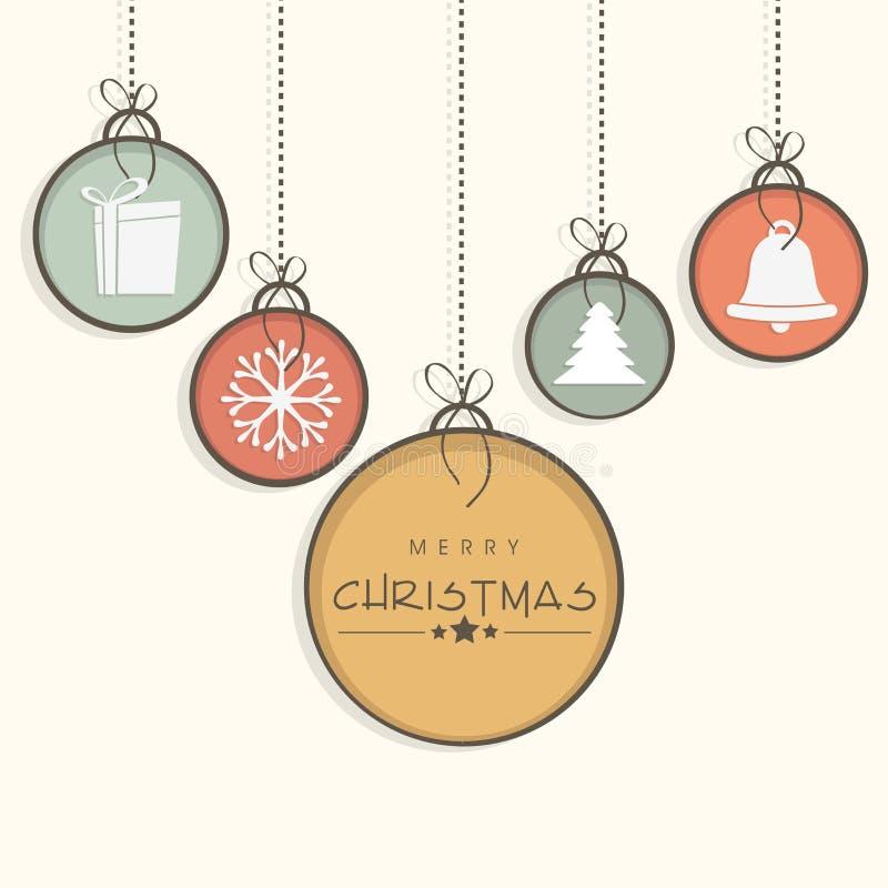 Celebración de la Feliz Navidad con los objetos de la ejecución stock de ilustración
