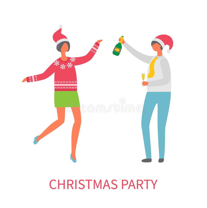 Celebración de la fiesta de Navidad, vidrio Champán del hombre libre illustration