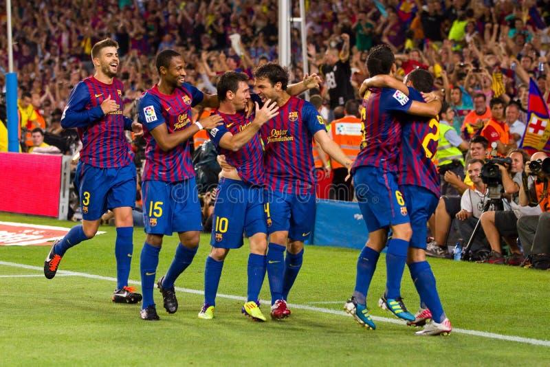 Celebración de la meta de FC Barcelona imágenes de archivo libres de regalías