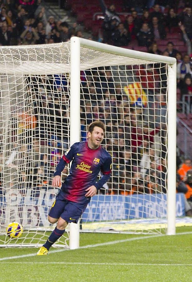 Celebración de la meta de Leo Messi foto de archivo libre de regalías