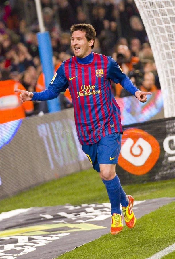 Celebración de la meta de Messi imagen de archivo libre de regalías