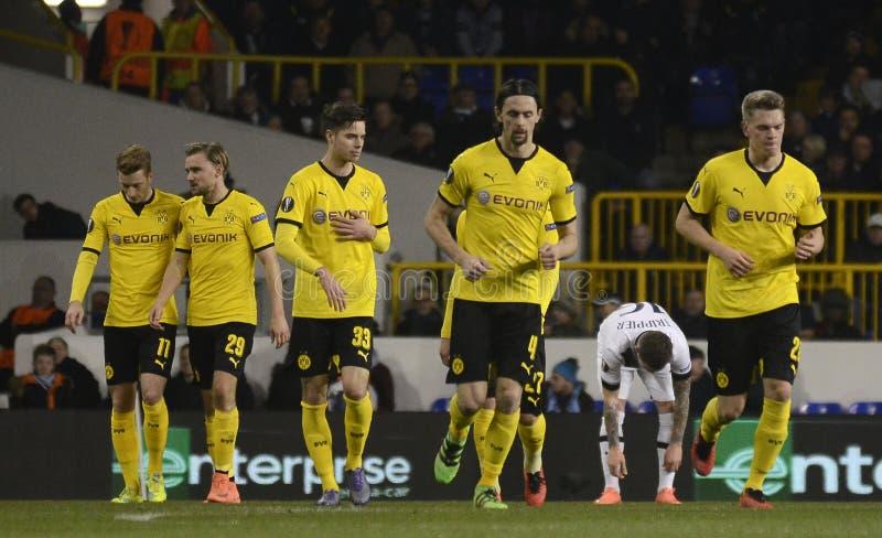 Celebración de la meta del Borussia Dortmund foto de archivo libre de regalías