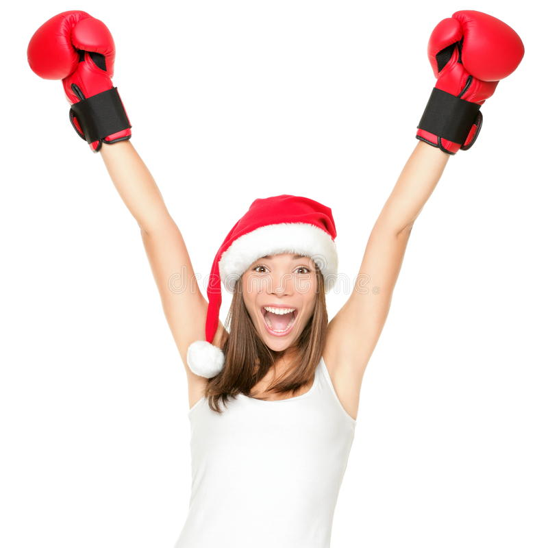 Celebración de la mujer de la Navidad del sombrero de Santa imágenes de archivo libres de regalías