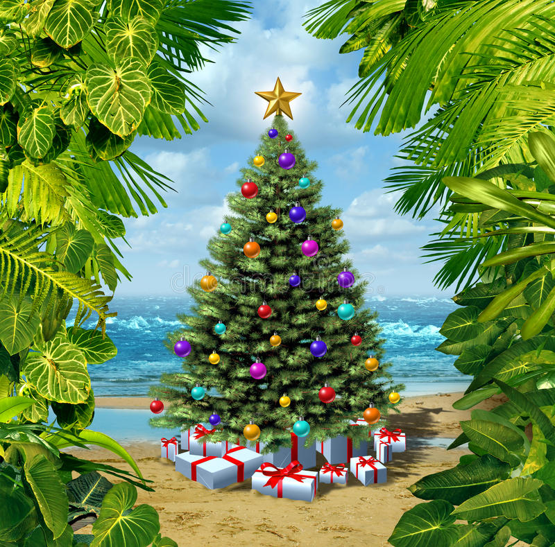 Celebración de la playa del árbol de navidad stock de ilustración