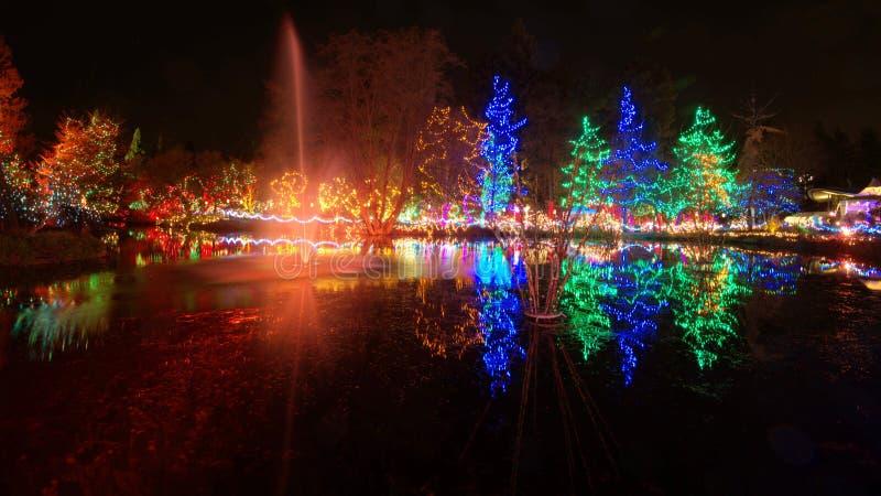 Celebración de las luces de la Navidad imagenes de archivo